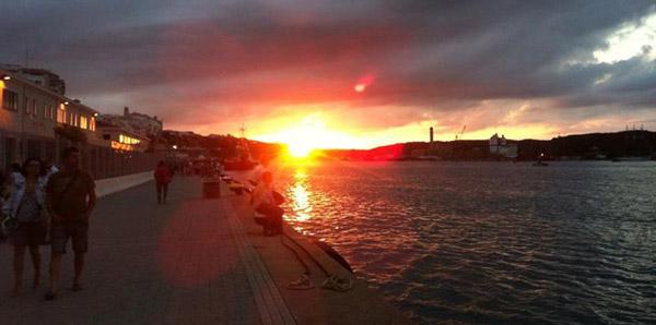 Menorca Mahon Harbour Sunset