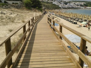Wooden Cladding walkway along the Beach & Bay
